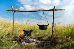 Campfire cooking Stock Photography