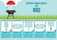 Campfire Cooking Gadgets for BBQ Vector Banner stock illustration