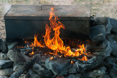 Campfire cooking. Cooking in  oven  on top of campfire Stock Photos