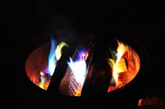 Campfire. An evening campfire at a private campground in the Adirondacks, upstate New York Royalty Free Stock Images