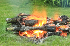 Campfire on the farm Stock Photo