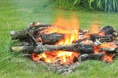 Campfire on the farm Stock Photo