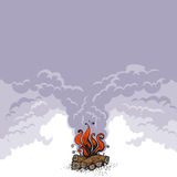 Campfire, fire over wood logs and cloud of smoke. Vector illustration. Campfire, fire over wood logs and cloud of smoke. Graphic vector illustration with copy Royalty Free Stock Photos