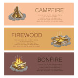Campfire Firewood and Bonfire Colorful Poster. Vector collection of touristic fire with flame kinds pictures with frame of grey stones, burning flame and Royalty Free Stock Photo