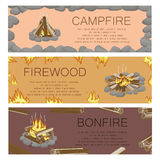 Campfire Firewood and Bonfire Colorful Poster. Vector collection of touristic fire with flame kinds pictures with frame of grey stones, burning flame and Royalty Free Stock Photos