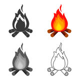 Campfire with firewood icon of vector illustration for web and mobile. Design Stock Images