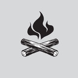 Campfire with Firewood Vector Illustration Icon. Vector illustration of campfire with firewood. Icon fire Stock Image