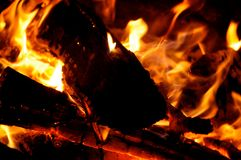 Campfire Flames. And wooden logs Stock Images