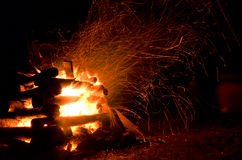 Campfire flames. Exposed campfire on a clear night royalty free stock images