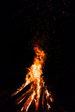 Campfire with flying sparks. Isolated on black background stock photos
