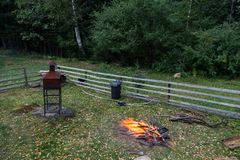 A campfire in a garden. Woods ready for camp fire in a garden Royalty Free Stock Photography