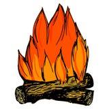 Campfire. Hand drawn, cartoon, sketch illustration of campfire royalty free illustration