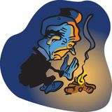 Campfire Hobo. Vector Cartoon Drawing Man glumly sitting at campfire at night Royalty Free Stock Photos