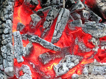 Campfire with hot coal, fire closeup,. Red campfire with hot coal and ashes, burn fire closeup details stock images