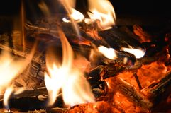 Campfire with hot coals. Hot coals and flames in burning campfire Stock Photography
