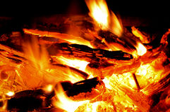 Campfire with hot coals. Hot coals and flames in burning campfire royalty free stock photos