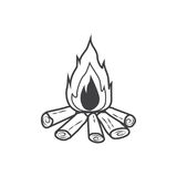 Campfire icon, burning bonfire Royalty Free Stock Photography