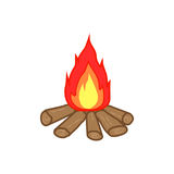 Flat color campfire icon Royalty Free Stock Photography