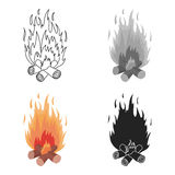Campfire icon in cartoon style isolated on white background. Light source symbol stock vector illustration. Campfire icon in cartoon style isolated on white Royalty Free Stock Photos