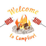 Campfire icon concept. Campfire icon  on white. Freehand drawn cartoon style. Fancy letters of welcome invitation. Grilled smoked sausages. Base camp fire rocks Stock Photo