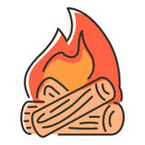 Campfire icon, flat style. Campfire icon. Flat illustration of campfire vector icon for web Royalty Free Stock Image