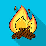 Campfire icon in flat style isolated on white background. Fishing symbol stock vector illustration. Stock Photos