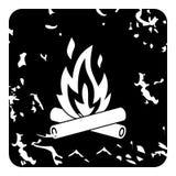 Campfire icon, grunge style Stock Photos