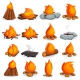 Campfire icon set, cartoon style vector illustration