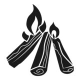 Campfire icon, simple style vector illustration