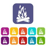 Campfire icons set Royalty Free Stock Images