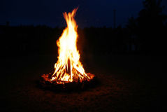 Campfire light in dark night time Royalty Free Stock Photography