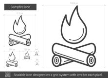 Campfire line icon. Campfire vector line icon isolated on white background. Campfire line icon for infographic, website or app. Scalable icon designed on a grid Stock Photos