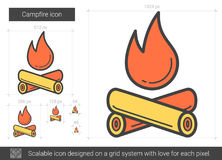 Campfire line icon. Campfire vector line icon isolated on white background. Campfire line icon for infographic, website or app. Scalable icon designed on a grid Stock Images