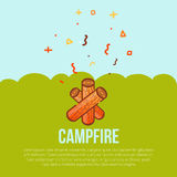 Campfire linear icon in modern style. Tourist  with firewood. Flame logo concept. Vector silhouette burning symbol on Royalty Free Stock Photo