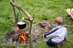 At the campfire Royalty Free Stock Photography