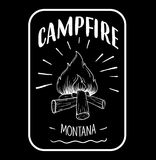 Campfire logo, emblem, poster for printing and web using. Vector stock illustration