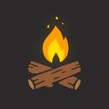 Campfire logo illustration. Campfire logo vector illustration on dark background. Crossed logs of wood and fire flame royalty free illustration
