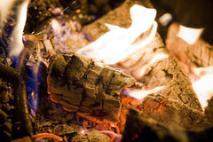 Campfire with Logs. Campfire including flames and blowing logs Stock Image