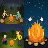 Campfire marshmallow banner set, cartoon style vector illustration