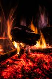 The Campfire. A mesmerising campfire in the woods Stock Photo