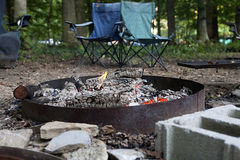 Campfire in Metal Fire Ring royalty free stock images