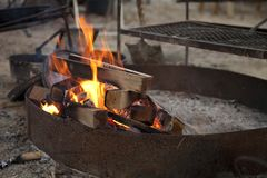 Campfire in metal ring Royalty Free Stock Image