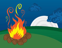 Campfire with Moon Royalty Free Stock Photography