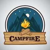 Campfire Mountain Adventure Round Retro Logo Vector Illustration. Template for Camping, Adventure Holiday Activity. stock illustration