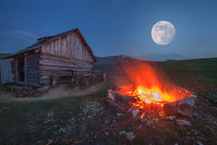 Campfire. In mountain near hunting house Royalty Free Stock Image