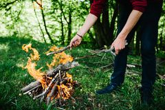 Campfire on the nature. man`s hands. Firewood preparation for fire. A man puts a stick in the fire, rest in the nature Stock Image