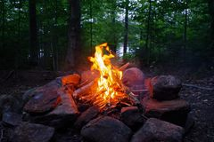 Campfire at night in the Adirondack Mountains of Upstate New York. Taken from at a Lean to Campsite royalty free stock photo