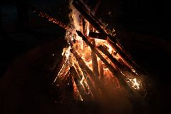Campfire in a night in camping. Camp fire in a beautiful, clear night in camping Stock Images