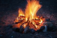Campfire close up. Campfire at night close up royalty free stock photos