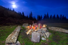 Campfire in the night forest Stock Photo